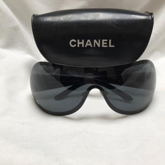 28fb82f0e1 CHANEL Accessories - Chanel Black Shield Sunglasses With Case